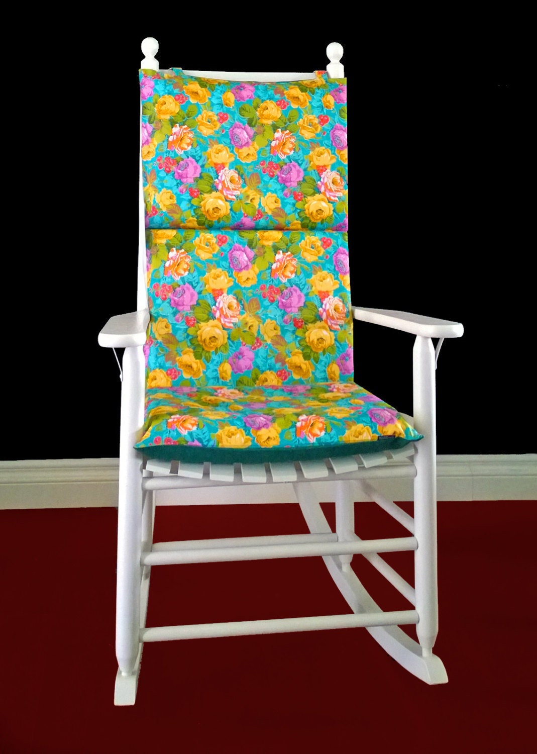 ON SALE Rocking Chair Cushion Turquoise Floral By RockinCushions