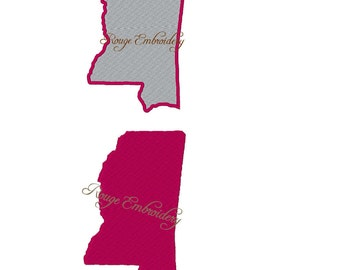 Mississippi State Embroidery Design Instant Download Filled 4x4 5x7 6x10