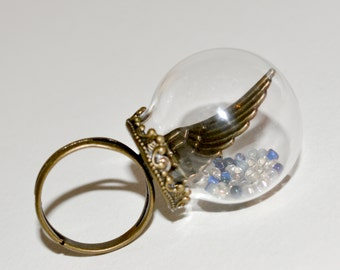 Angel Wing Ring, Adjustable Ring, Snow Globe Ring, Statement Ring, Glass Ball Ring, Angel Wing Jewelry, Glass Globe Ring, Angel Wing Jewelry