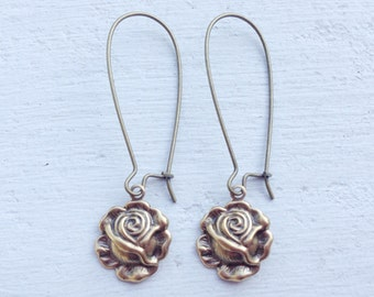 Rose Earrings/Rustic Wedding Earrings/Flower Earrings/Garden Wedding Earrings/Rose Bridesmaid Earrings/Mothers Day Gift/Floral Earrings