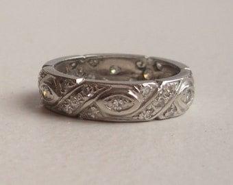 Diamond Platinum Wedding Band - Engagement Ring - Eternity Band