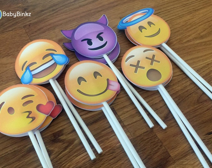 Emoji Cupcake Toppers - party wedding birthday decoration instagram social media iPhone app icon stick centerpiece