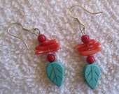 turquoise and coral earrings, turquoise leaf earrings, tropical earrings, Hawaiian earrings,
