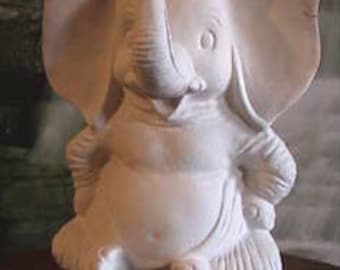 "7"", Cute ,Saggy Baggy Elephant, Cartoon elephant, African Elephant, Childs decoration, Dumbo, u-paint, Ready to paint, Ceramic Bisque"