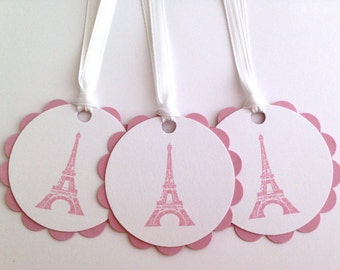 Eiffel Tower Gift Tags - French Tags - Parisian To From Tags - Eiffel Tower Wedding Favor Tags - Pink Gift Tags - Girly Tags - Bonjour Tags