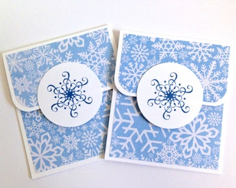 Snowflake Gift Card Holder Set - Holiday Gift Card Holder - Christmas Gift Card Holder - Winter Money Card - Christmas Money Envelope