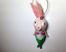 Mermaid Bunny Ornament, Whimsicall Bunny Ornament, Clay Ornament, Mermaid Lover Gift, Mer-Rabbit, Cute Mermaid Decoration, Nautical Ornament