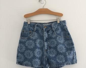 Vintage 90's Sunflower Print Denim Shorts / High Waisted Jean Shorts S