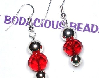 "Handmade 1.5"" RUBY RED Faceted Art Glass EARRINGS Silver Accents Beads Silver Wires"