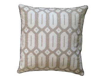 White on natural linen Hexagon cushion cover