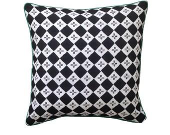Black Checkers linen cushion cover