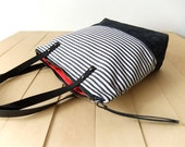 Zippered Waterproof Striped Tote Bag - Waxed Canvas Base in Black - Leather Handles in Black - Red Lining - Shoulder Bag