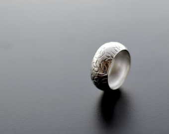 Leaf Wedding Band, Sterling Silver Ring,Textured, Leaves, Leaf, Modern, Contemporary
