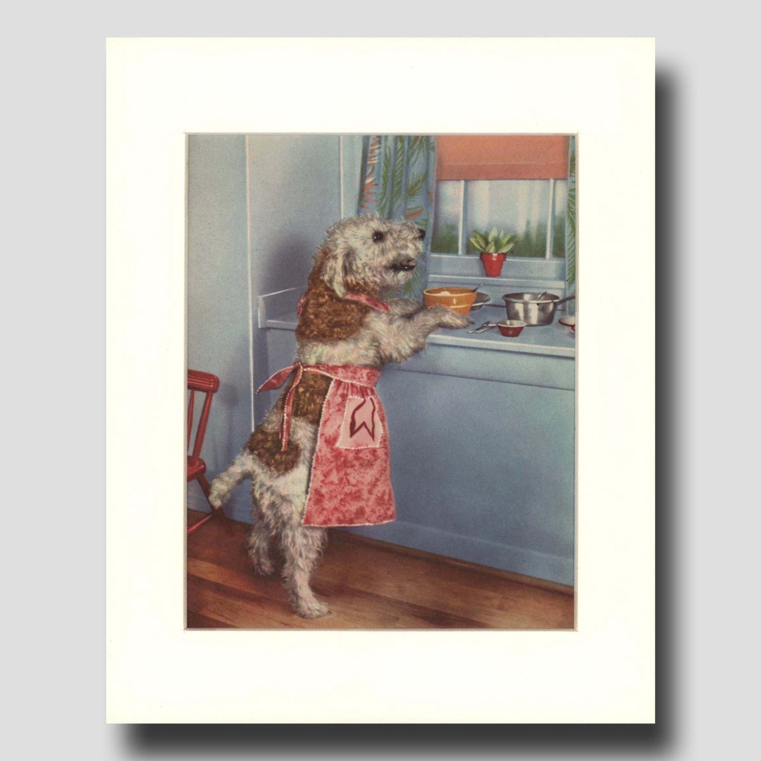 Funny kitchen art 1950s art home decor gift for dog lover for Funny home decor