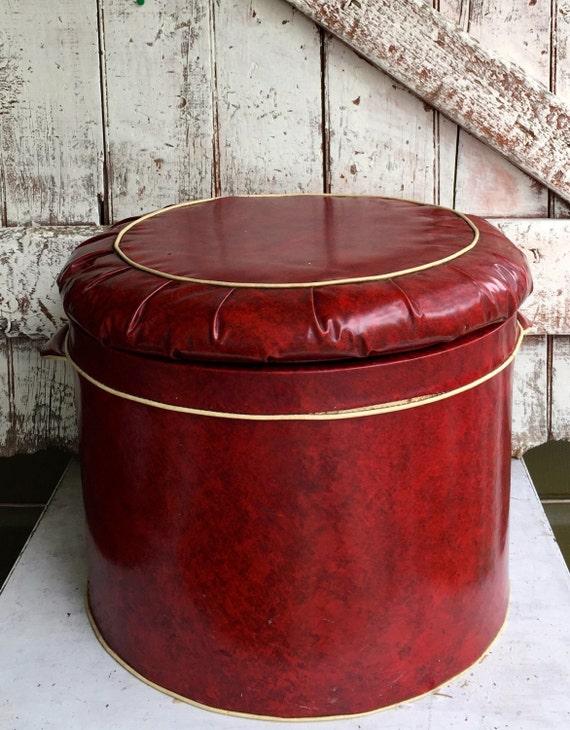 Red Vinyl Round Storage Ottoman Footstool Hassock Vintage Mid