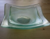 Set of 2 Reclaimed Glass Square Bowls