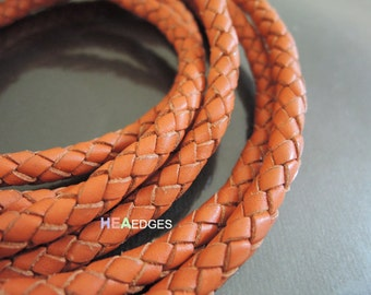 Leather Cord 5mm - Orange Round Braided Bolo Genuine Leather Cord ( Hole Inside )