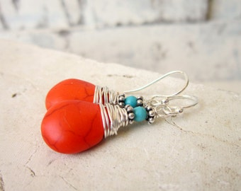 Wire Wrapped Orange and Turquoise Earrings. Orange Turquoise Howlite Dangle Earrings. Red Orange Earrings. Orange Jewelry