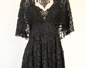 Black Embroidered Lace V Neck Plunge Dress // Size Small
