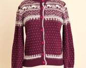Vintage Angora Wool Purple Wine Winter Nordic Print Sweater // Size Medium