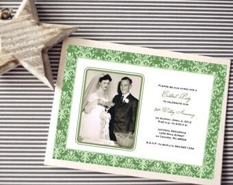 Personalized - 20th Wedding Anniversary Invitation - Emerald Green - Custom Printable