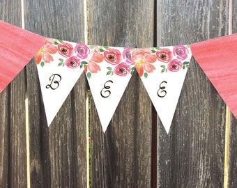 Instant Download - Printable Pennant, Bunting Banner - Arden - Coral Watercolor Floral