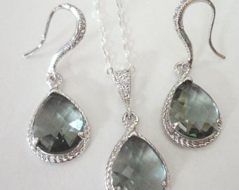 Black Diamond ~ Necklace and Earring set ~ Sterling silver ~ Teardrops ~ Bridal Jewelry ~ Bridesmaids ~ Formal ~ Gray ~
