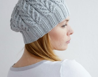 Hand knitted spring winter beret - chunky gray hat urban grey