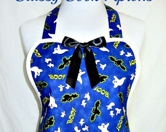 HALLOWEEN Apron GHOSTS & Bats on BLUE, Trick or Treat, Fun Party Hostess Gift