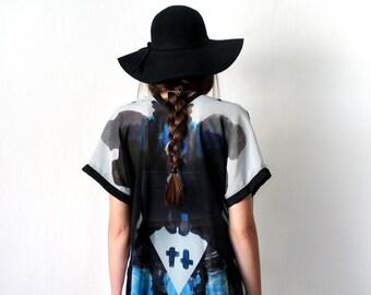 BLACK HILLS Kimono Boho Goth Grunge, See Through Chiffon Robe, Gray Blue Black Geometric Print, Oversized Tunic Duster, Long Sleeveless Vest