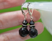 Faceted Black Onyx Earrings classic black earrings modern black earrings little black earrings black and silver black crystal