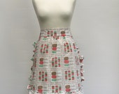 Women's retro macaron half apron frilly pink mint brown
