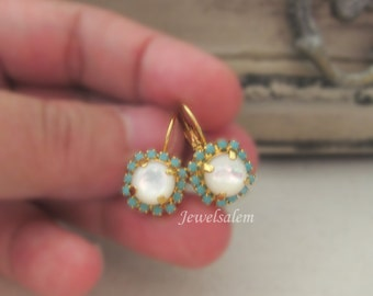 Pearl Earrings, Gold Earrings, Turquoise Rhinestone Earrings with Mother of Pearl, Elegant, Chic, Jewelry Gift,