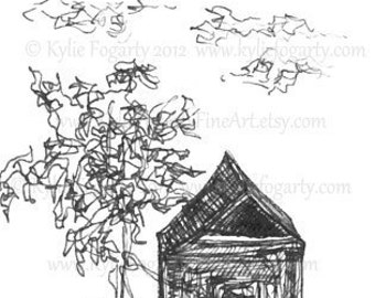 "ACEO, Black and White, Sketch / Line Drawing, Children Playing, Art, ""When I grow up"", Original Miniature Art"