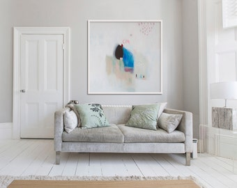 "large ABSTRACT GICLÉE print, print of painting, white, beige, blue, ""Angels Have Tea Too"""