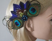 "Blue Green Brown Black White Peacock and Pheasant Feathers Fascinator Hair Clip ""Kenda"" FG2908 Bridal Prom"