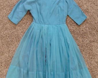 "VINTAGE 50's PARTY DRESS aqua 1950's full skirt xs 32"" bust petite"