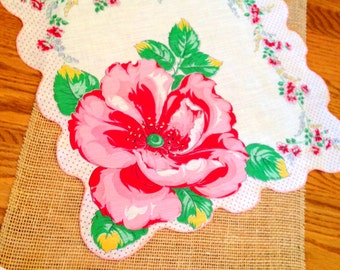 Large Hibiscus Handkerchief Vintage  Cottage Chic Hanky Bridal Bridesmaid Handkerchief Farmhouse Mother's Day Valentines Day  Large 15""