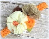 Halloween Flower Headband- Fall Headband- Shabby Flower Headband- Pumpkin Headband- Toddler Elastic Headband in Orange, Cream and Brown