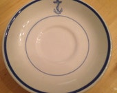 4 U.S. Navy Dinnerware Fouled Anchor 4 Coffee Saucers Military History China 1940s Mess Room War Restuarant Ware