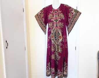 Vintage PSYCHEDELIC Burning Man Voodoo Witch Doctor Islands Barbados Dashiki Cotton Caftan Muumuu Jimi Hendrix Long Dress Raggae