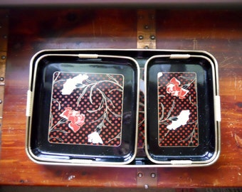 Vintage Retro 1960s 60s Black Lacquer Japanese Japan Tray Set of 3 Large and Small, Carnation Rose Flowers Red White
