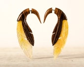Fake Gauge Earrings Feather Wood and Shell Tribal Earrings - Gauges Plugs Wooden Earrings - FG091 W/AS G1