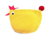 Chicken Crochet Coin Purse with Pom Pom Zipper Pull Fair Trade Thailand (BG491-Y)