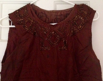 Vintage 1920s Misses' Brown Glass Bead Blouse Cutter Project