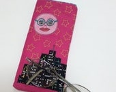 Minerva The Near-Sighted Moon Handmade Fabric Eyeglass Case Sunglass Case Glasses Case Applique Whimsical Pink Accessories