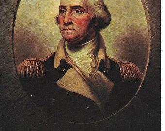 Vintage Unused Postcard Featuring Porthole Portrait of George Washington by Rembrandt Peale