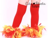 READY TO SHIP: Leg Warmers - Red Orange Yellow Feather - Fiery Phoenix - Bird Costume Accessory - One Size - Cutie Patootie Designz