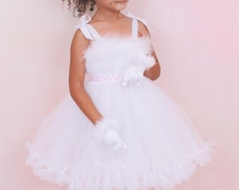 READY TO SHIP: Petti Tutu Dress - Halloween Cat or Kitten Costume - White and Pink - Mischievous Mittens - 5-6 Youth Girl