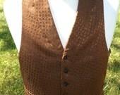 Mens 1940s Paisley Shark Skin Lapel Six Button Vest Waist Coat Victorian Edwardian Wildwest Steampunk